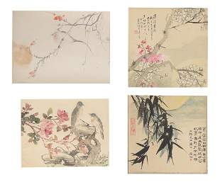 Group of 4 Chinese Leaf Album Paintings of Birds
