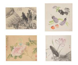 Group of Four Chinese Leaf Album Paintings