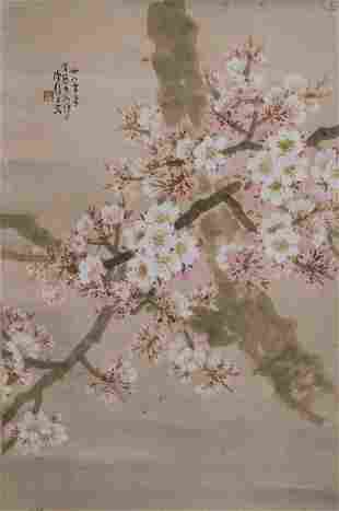 Chinese Painting of Flowers and Bees by Chen Shuren