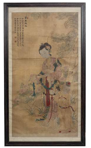 Chinese Painting of a Court Lady and Child, 18th