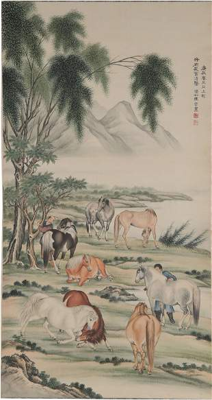 Chinese Painting of 8 Horses by Ma Jin
