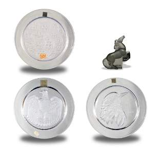Three Boxed Lalique Plates, One Lalique Horse