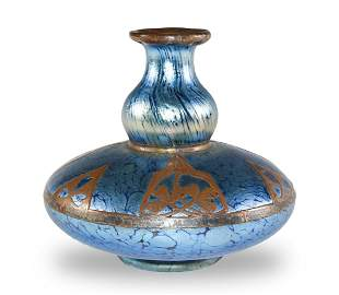 Loetz Blue Iridescent Vase with Copper Overlay