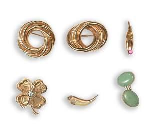 6 Pcs. 14K Gold Jewelry, Diamond and Tourmaline