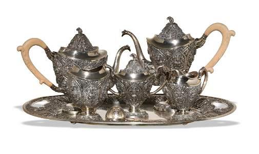 Seven Piece Thai Silver Tea Service