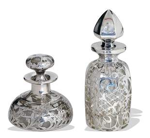 Sterling Over Glass Perfume and Decanter