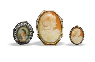 3 Gold and Coin Silver Cameo Brooches / Pendants