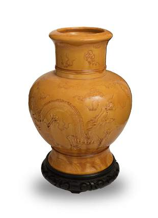 Chinese Yellow Glazed Carved Porcelain Vase, 19th
