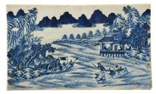 Chinese Blue and White Porcelain Plaque, 19th Century