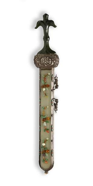 Mongolian Silver Dagger, Jade Bian Fang Hairpins
