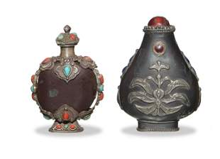 2 Chinese Silver Snuff Bottles, Late 19-Early 20th