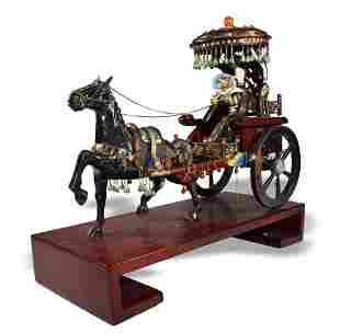 Chinese Enameled Silver Carriage, Mid-20th Century