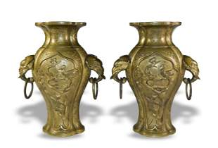 Pair of Chinese Elephant Handle Vases, 19th Century