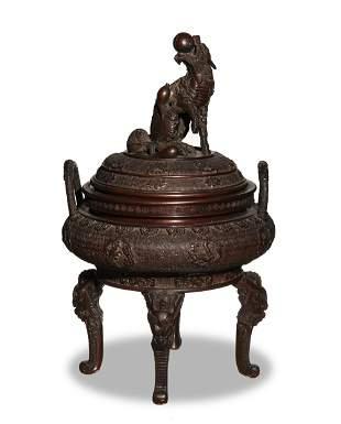 Japanese Bronze Tripod Censer, Meiji