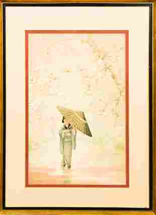 Japanese Watercolor of Woman with Parasol