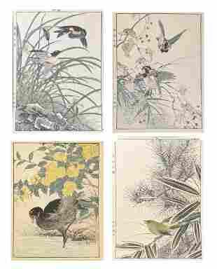4 Japanese Woodblock Prints of Birds, Imao Keinen