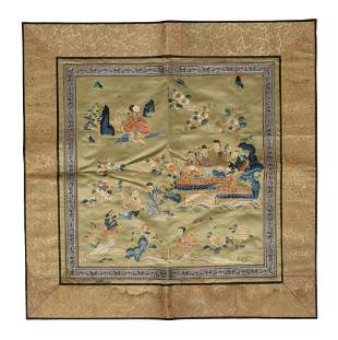 Chinese Silk Landscape Panel, 19th Century