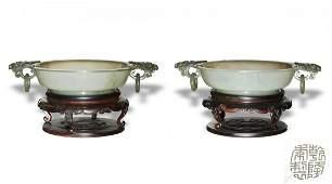 Pair of Mughal Style Jade Marriage Bowls, Qianlong