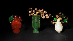 Group of 3 Chinese 14K Gold Brooches