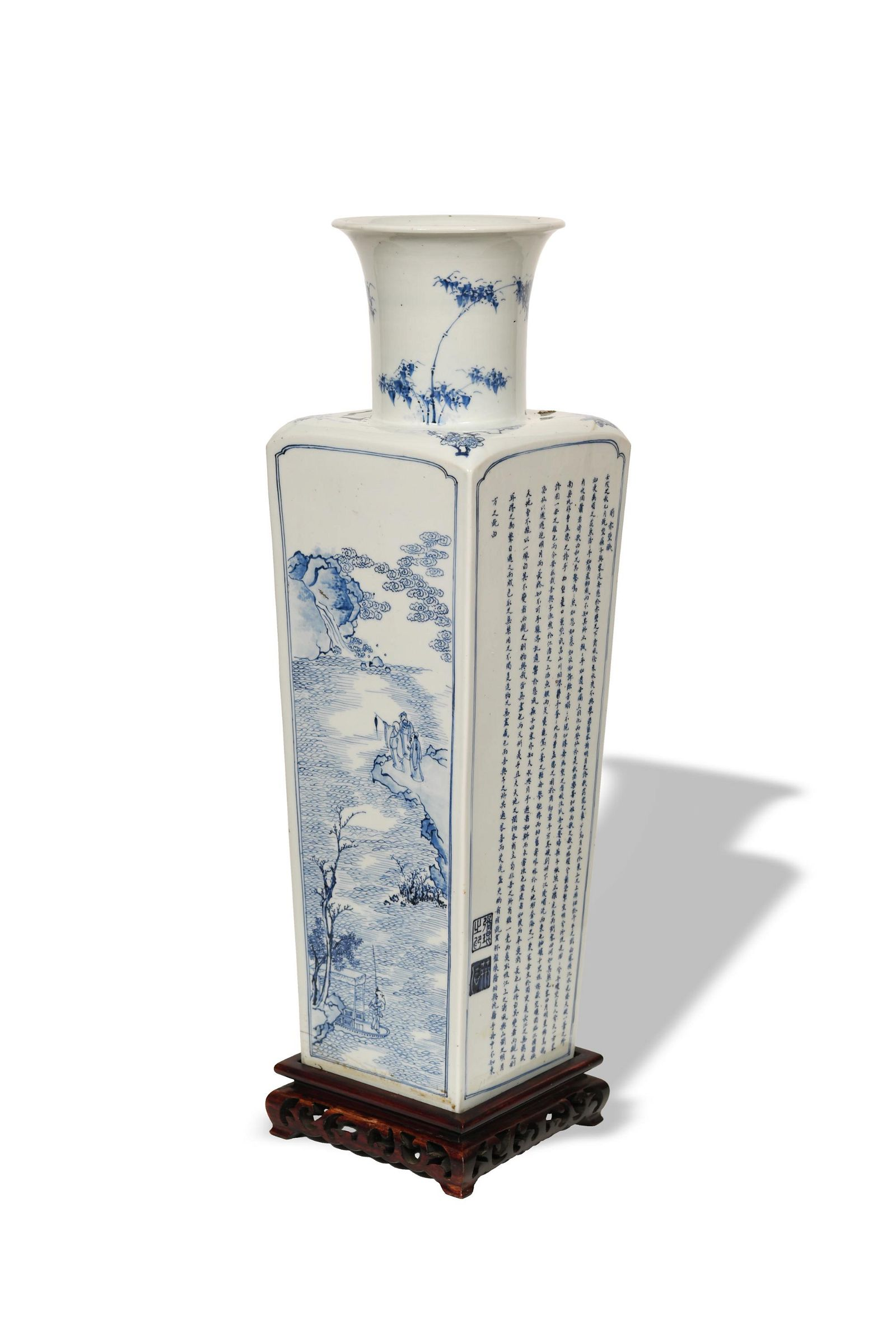 Chinese Square Vase with Story of Red Cliffs, Kangxi