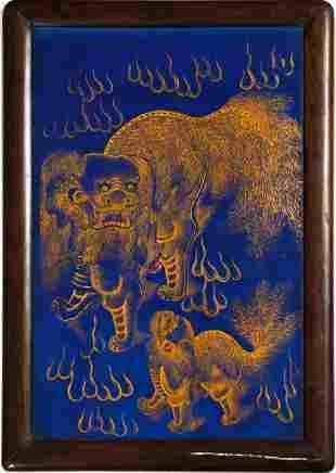 Chinese Blue Porcelain Plaque, Republic Period