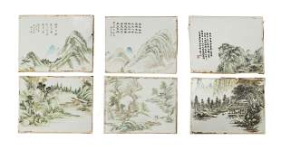 Three Pairs of Chinese Porcelain Plaques, 19th Century