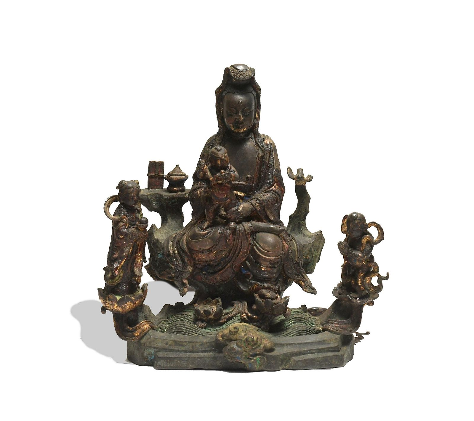 Chinese Gilt Bronze Guanyin with Acolytes, Ming