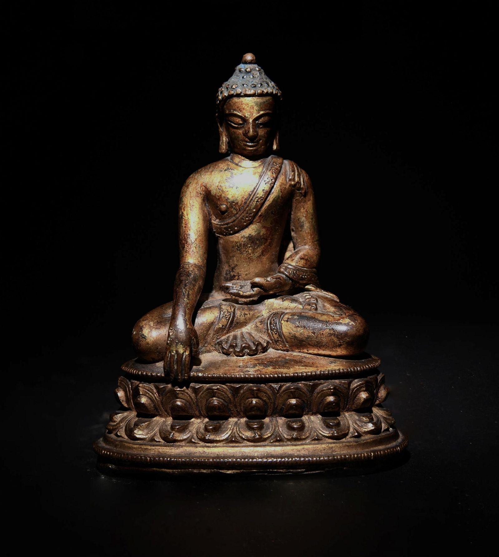 Chinese Gilt Bronze Shakyamuni Buddha, Ming