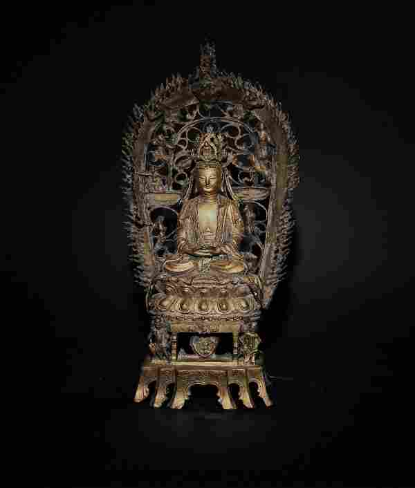 Chinese Gilt Bronze Buddha with Throne and Torana, Ming