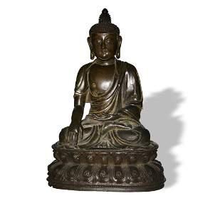 Chinese Bronze Shakyamuni Buddha, Early Ming