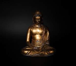 Chinese Gilt Wood Buddha, Ming Dynasty