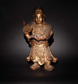Chinese Gilt Wood Statue of Weituo, 18th Century