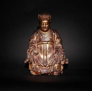 Chinese Gilt Wood Statue of a Civil Officer, Ming
