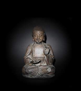 Chinese Gilt Wood Statue of a Monk, Ming Dynasty