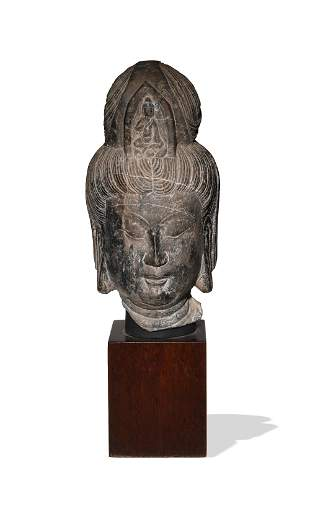 Chinese Carved Stone Bodhisattva Head, Tang