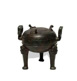 Chinese Bronze Tripod Ding, Warring States Period