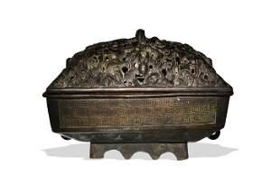Chinese Rectangular Bronze Censer, Ming Dynasty