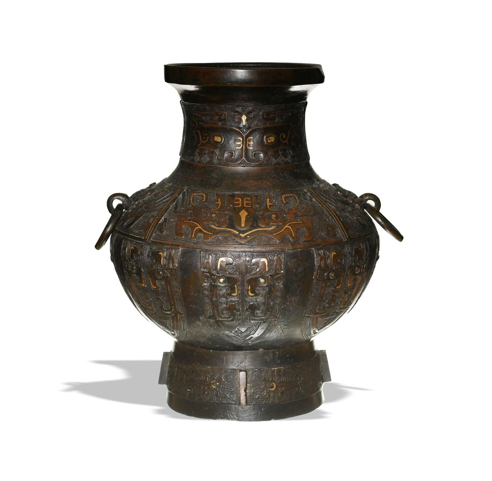 Chinese Gilt Bronze Vase with Silver Inlay, 18th