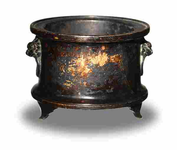 Chinese Bronze Censer with Beast Handles, 18-19th