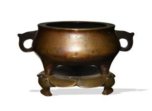 Chinese Bronze Censer with Original Stand, 18th Century