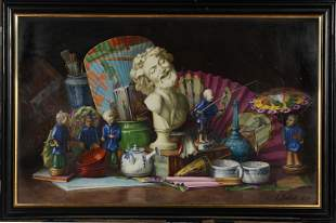 Painted Porcelain Plaque Still Life, L Ballet 1879