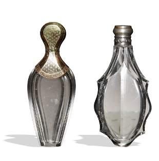 2 Victorian Perfume Flasks, Sterling, Gold Vermeil