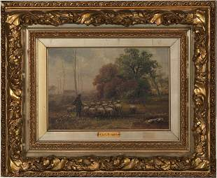 Charles Rogers Oil of a Shepherd with his Flock