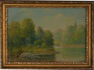 Albert Francis King Oil of a River Landscape