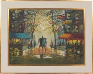 Oil on Canvas of a Paris Street Scene