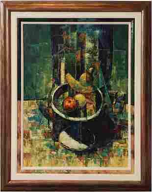 """Modernist Still Life Oil """"Le Montage"""" Bin Porre"""