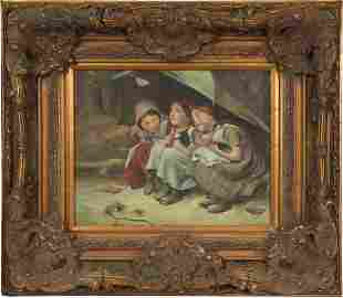 Oil on Canvas of Three Young Girls with Kittens
