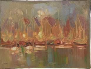 Elzbieta Szolomiak Abstract Oil of Boats in Harbor
