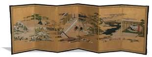 Japanese Byobu Six Panel Screen, Edo