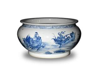 Chinese Blue and White Pottery Bowl with 18 Luohan